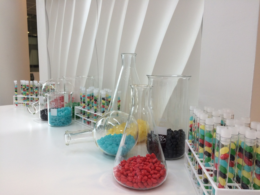Colourful laboratory glassware